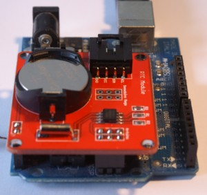 DS1307 module mounted on Arduino