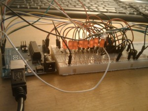 Device mounted on a breadboard