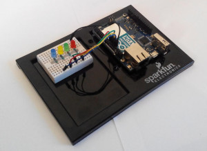 Arduino YUN allow You control physical elements with smartphone or other browser.